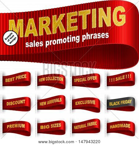 Clothes labels tags with marketing words and phrases for garments sales promotion and merchant service; Best price Discount Sale Special offer Handmade Black friday and etc; Red vector set Eps10