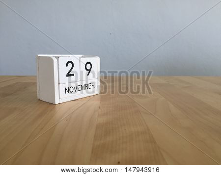November 29Th. November 29 White Wooden Calendar On Vintage Wood Abstract Background.autumn Day.copy