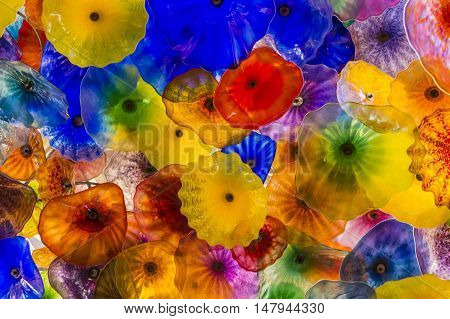 LAS VEGAS - MAY 21 : The Hand Blown Glass Flower Ceiling at the Bellagio Hotel on May 21 2016 in Las Vegas. It is comprised of 2000 glass blossoms by glass sculptor Dale Chihuly