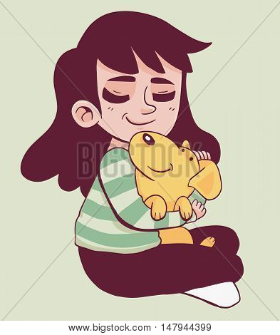 Vector illustration of a cartoon girl holding a dog in her lap.