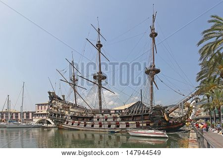 GENOA ITALY - JULY 14: Neptune Galeon Pirate Ship in Genoa on JULY 14 2013. The ship was built for Roman Polanski film Pirates in 1985 now docked at port in Genoa Italy.
