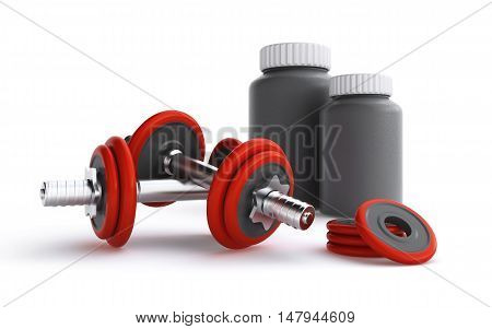 3d rendering of dumbbells and protein containers