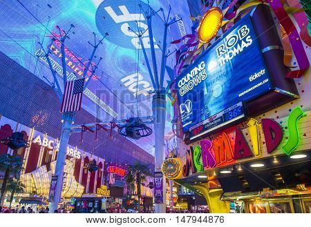LAS VEGAS - JULY 04 : The Fremont Street Experience on July 04 2016 in Las Vegas Nevada. The Fremont Street Experience is a pedestrian mall and attraction in downtown Las Vegas