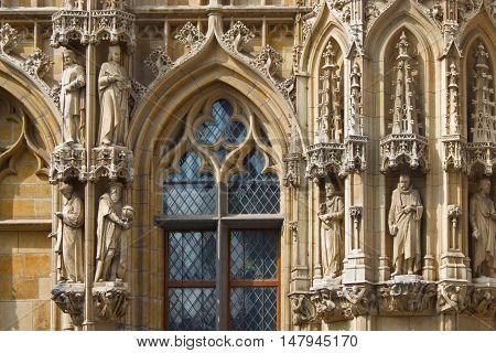 Elements exterior of City Hall in Leuven. Belgium. Flanders.