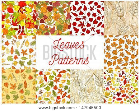 Autumn leaves seamless patterns with set of autumnal backgrounds with yellow and orange fallen leaves, tree branches, acorns and rowanberry fruits