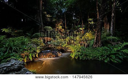 Waterfall In Forest At The Night
