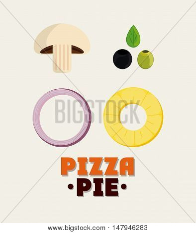 mushroom olive onion pineaple ingredient pizza pie icon. fast food menu american and restaurant theme. Colorful design. Vector illustration