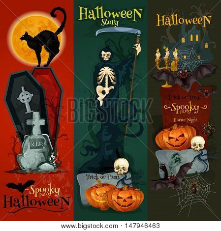 Orange halloween pumpkin lantern, scary skeleton, grave tomb with cross, haunted house with skulls, bats, black cat and full moon. Vector Halloween design for greeting and invitation cards