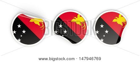 Flag Of Papua New Guinea, Round Labels