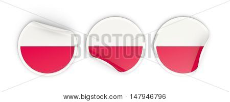 Flag Of Poland, Round Labels