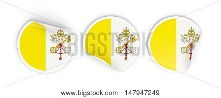 Flag Of Vatican City, Round Labels