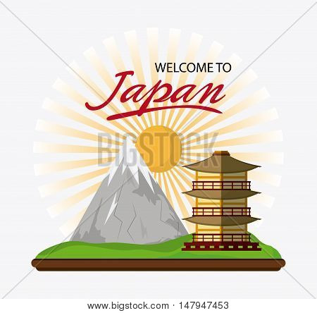 tower building with sun and mountain icon. Japan culture landmark and asia theme. Colorful design. Vector illustration