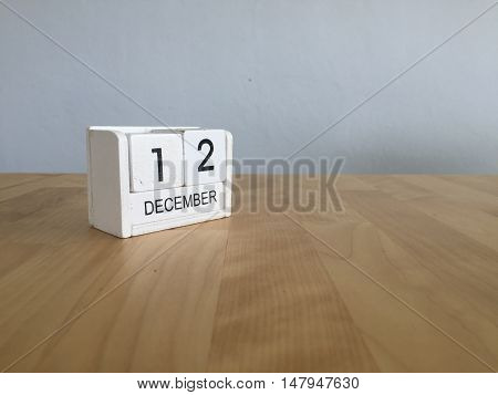 December 12Th.december 12 White Wooden Calendar On Vintage Wood Abstract Background. New Year At Wor