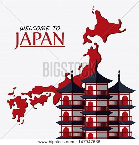 tower building and map icon. Japan culture landmark and asia theme. Colorful design. Vector illustration