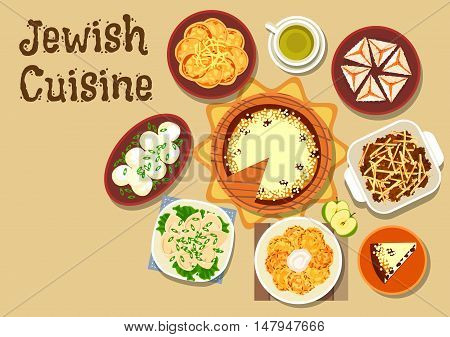 Jewish cuisine dinner menu icon of chickpea falafel, fish pancake with cheese, gefilte fish balls, meat dumpling, potato casserole, pancake latke, cottage cheese cake and coconut pyramid