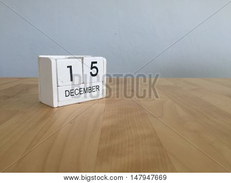 December 15Th.december 15 White Wooden Calendar On Vintage Wood Abstract Background. New Year At Wor