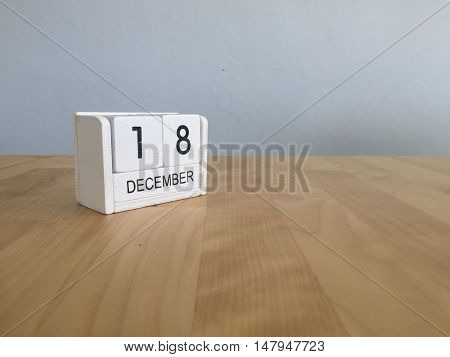December 18Th.december 18 White Wooden Calendar On Vintage Wood Abstract Background. New Year At Wor