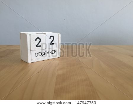 December 22Nd.december 22 White Wooden Calendar On Vintage Wood Abstract Background. New Year At Wor