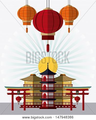 tower building arch and lamps icon. Japan culture landmark and asia theme. Colorful design. Vector illustration