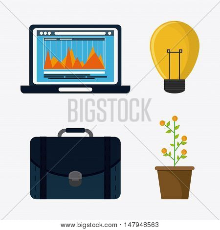 laptop plant coins suitcase and bulb icon. Business financial item and strategy theme. Colorful design. Vector illustration