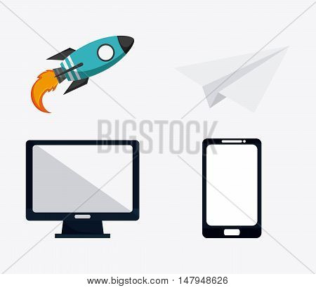 computer laptop rocket and paperplane icon. Business financial item and strategy theme. Colorful design. Vector illustration