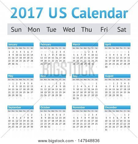 2017 US American English Calendar. Week starts on Sunday