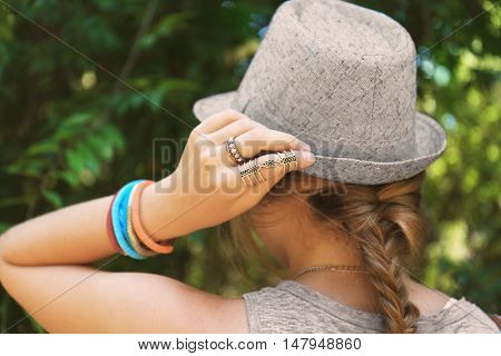 Beautiful accessories on female hand