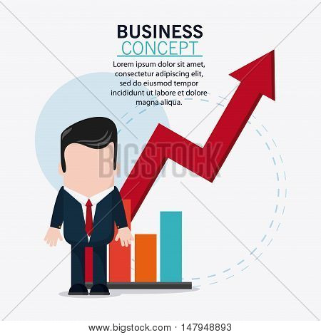 businessman cartoon and growth arrow icon. Business financial item and strategy theme. Colorful design. Vector illustration