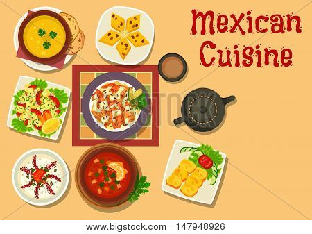 Mexican cuisine authentic dishes icon of chilli salsa bean soup, vegetable salad with cheese, corn bread, chicken with vegetable, pumpkin soup, bread pudding with raisins, creamy onion soup