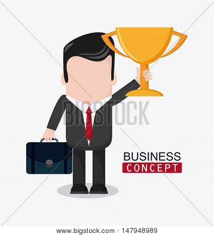 businessman cartoon and trophy icon. Business financial item and strategy theme. Colorful design. Vector illustration