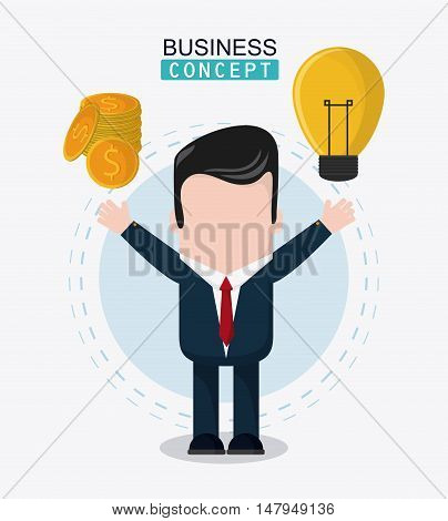 businessman cartoon coins and bulb icon. Business financial item and strategy theme. Colorful design. Vector illustration