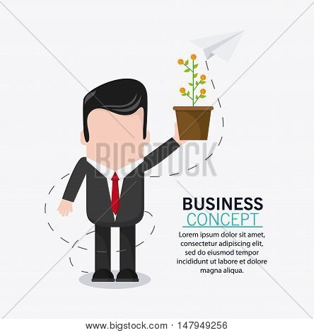 businessman cartoon plant and coins icon. Business financial item and strategy theme. Colorful design. Vector illustration