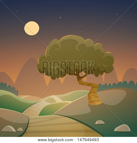 The cartoon illustration of the night landscape with country road.