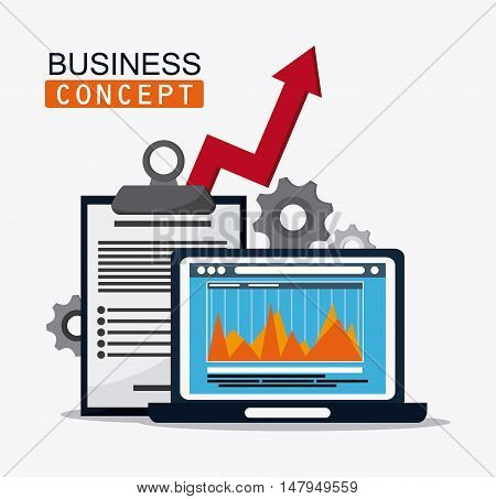 laptop infographic check list arrow and gears icon. Business financial item and strategy theme. Colorful design. Vector illustration