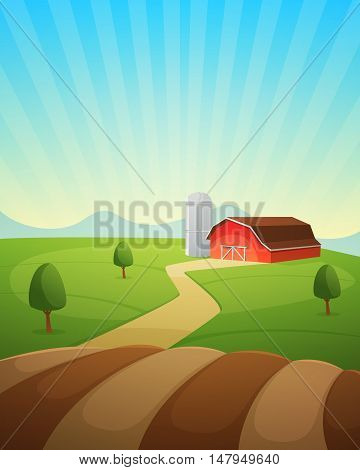 Red farm barn, countryside landscape, cartoon vector illustration.