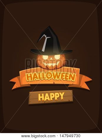 Halloween poster with banners, pumpkin and witch hat, cartoon vector illustration.