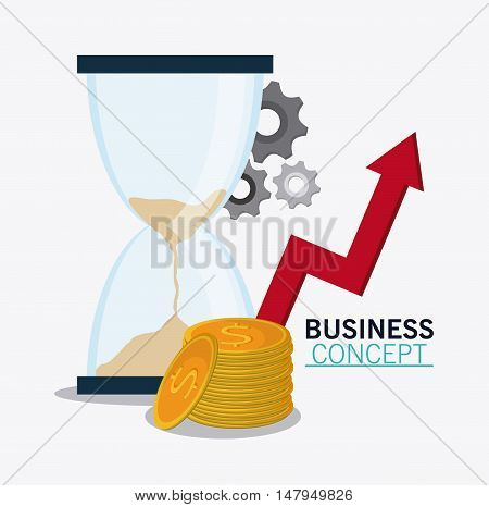 hourglass coins gears and arrow icon. Business financial item and strategy theme. Colorful design. Vector illustration