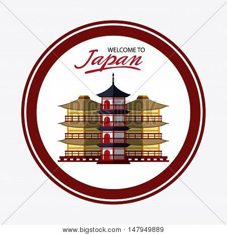 tower building icon. Japan culture landmark and asia theme. Colorful and button design. Vector illustration
