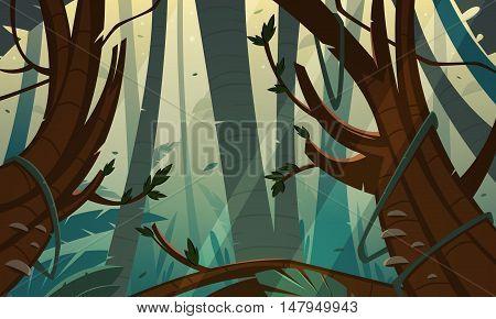 Cartoon illustration of the tropical rainforest jungle.