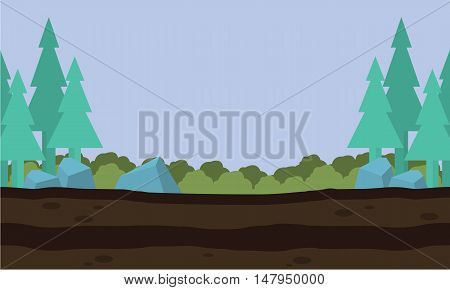 Silhouette of nature landscape game background vector art