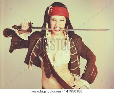 Halloween sword pirate costume woman