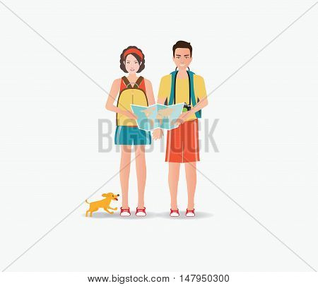 Couple travelers carring map with dog isolated on white tourists couple ready to trip. on summer holidays trip charactor flat design vector illustration.