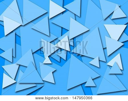 An abstract digital pattern created with triangles of various sizes in shades of blue with a three dimensional effect.