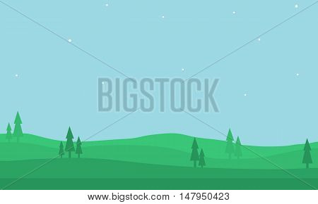 Nature landscape of silhouette for game backgrounds vector art