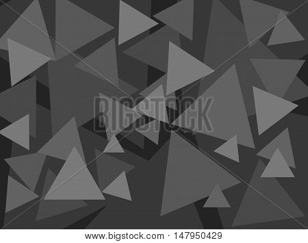 An abstract digital pattern created with triangles of various sizes in shades of grey.