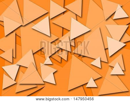 An abstract digital pattern created with triangles of various sizes in shades of orange with a three dimensional effect.