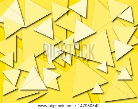 An abstract digital pattern created with triangles of various sizes in shades of yellow with a three dimensional effect.