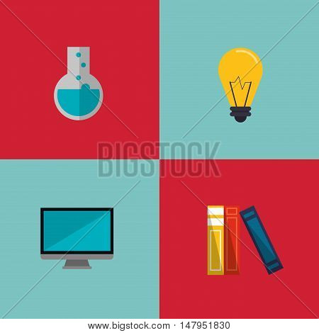 flat design lightbulb with education and academia related icons image vector illustration