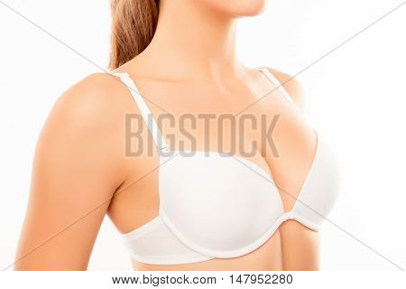 Close Up Of Shapely Sexy Woman Wearing White Bra