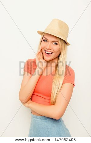 Portrait Of Beautiful Happy Cheerful Blonde In Summer Hat